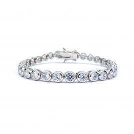 CZ round crystal silver tennis bracelet