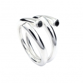 Designer onyx silver ring