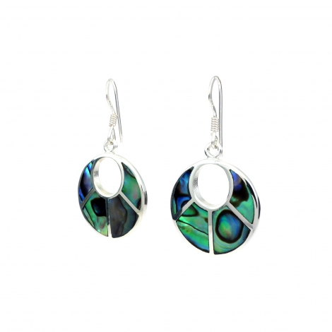 Round hanging silver earring