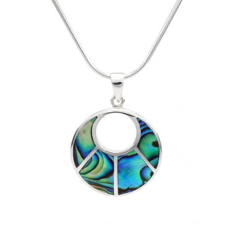 Abalone round silver pendant