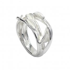 Brushed silver leaf ring