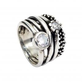 Oxidised silver CZ ring