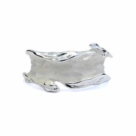 Brushed ripple silver ring