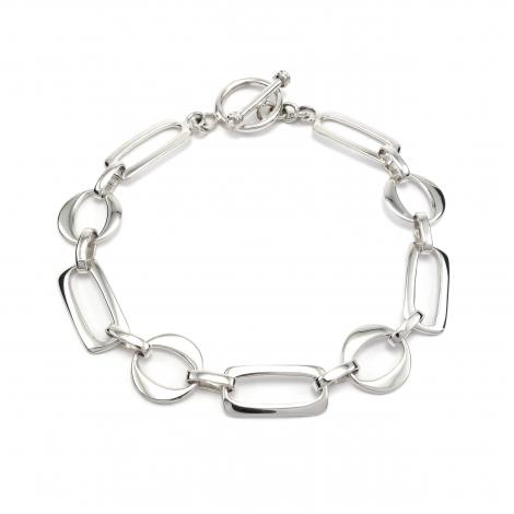 Shapes link silver bracelet