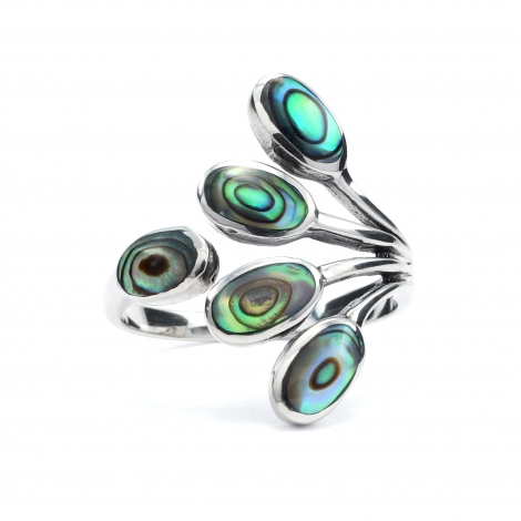 Five leaf abalone silver ring