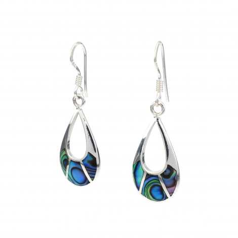 Abalone oval silver drops