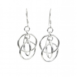 Three rings hanging silver earrings