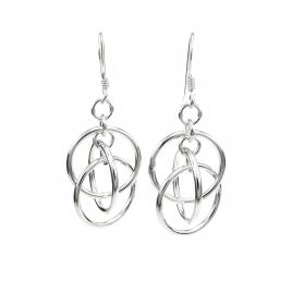 Three rings hanging silver earrings