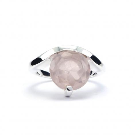 Designer cut rose quartz silver ring