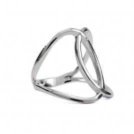 Interlinked circles silver ring