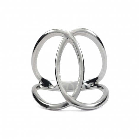 Interlinked circles silver ring