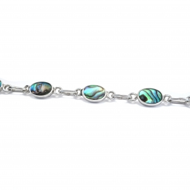 Dainty abalone silver bracelet