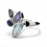 Blue topaz and iolite cut stone silver ring