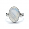 Oval rainbow moonstone silver ring