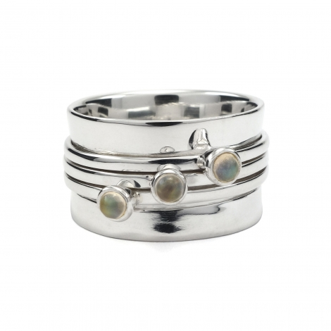 Silver cuff ring with rainbow moonstone