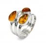 Three stone silver ring with amber