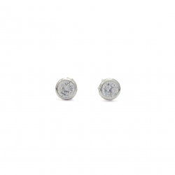 Quartz crystal round 4mm silver stud earring