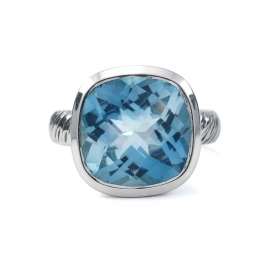 Square cut blue topaz silver ring