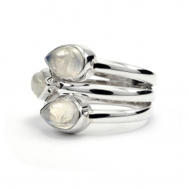 Three stone silver ring with moonstone