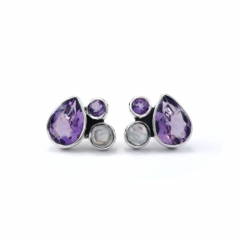 Moonstone and amethyst silver stud errings