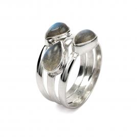 Three stone silver ring with labradorite