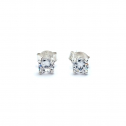 Quartz crystal square 3mm silver stud earring