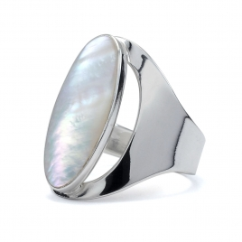 Long oval mother of pearl silver ring