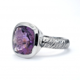 Square cut amethyst silver ring