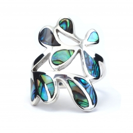 Abstract abalone shell silver ring