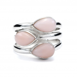 Three stone silver ring with pink opal