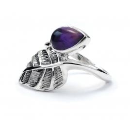 Amethyst silver leaf ring