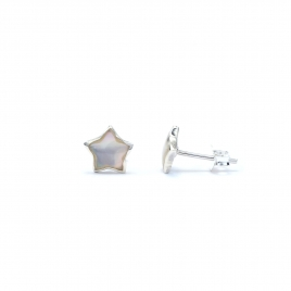 Silver star stud with mother of pearl