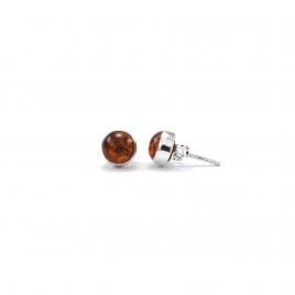 Polished amber silver stud earrings