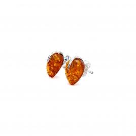 Amber teardrop silver stud