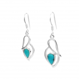 Turquoise silver hanging earrings