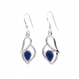 Lapis silver hanging earrings