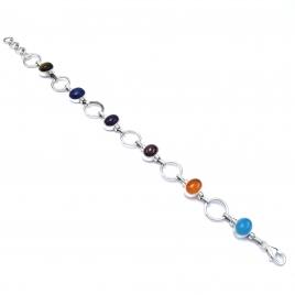 Multi coloured polished stone silver bracelet
