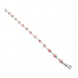 Dainty pink opal silver bracelet