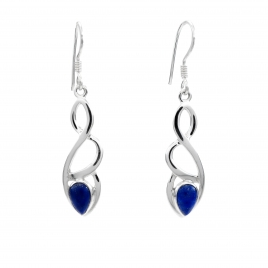 Celtic silver earrings with lapis lazuli