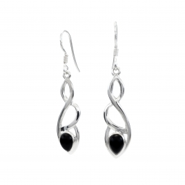 Celtic silver earrings with black onyx