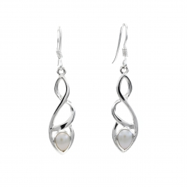 Celtic silver earrings with pearl