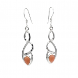 Celtic silver earrings with pink opal