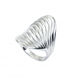 Polished silver wave ring