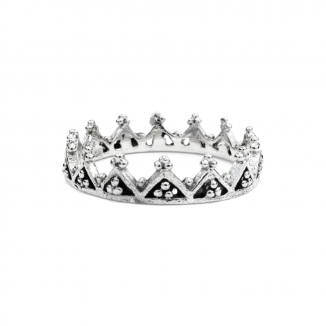 Dainty crown silver ring