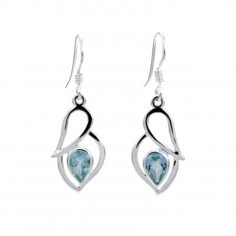 Blue topaz silver hanging earrings