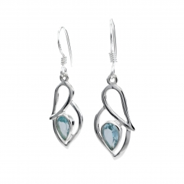 Blue topaz silver hanging earrings