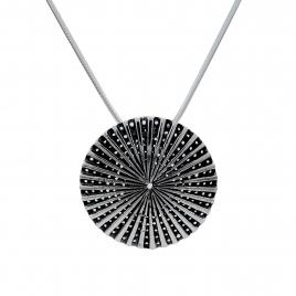 Oxidised silver disc pendant