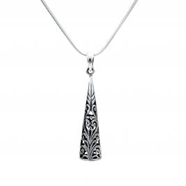 Oxidised silver cone pendant