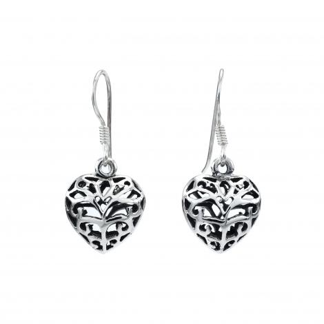 Filigree silver heart drop earrings