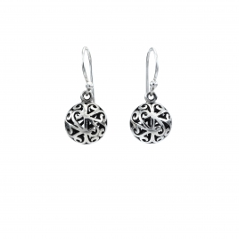 Filigree silver ball drop earrings